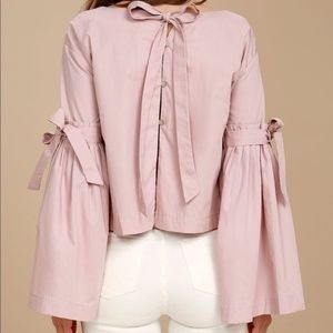 Free People Pink Bell Sleeve Bow Tie Blouse S
